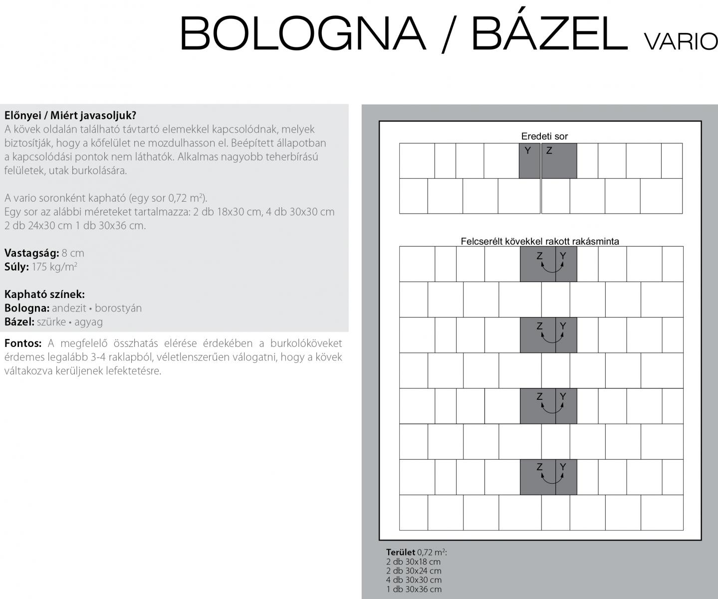 Bologna vario melírozott technikai információi