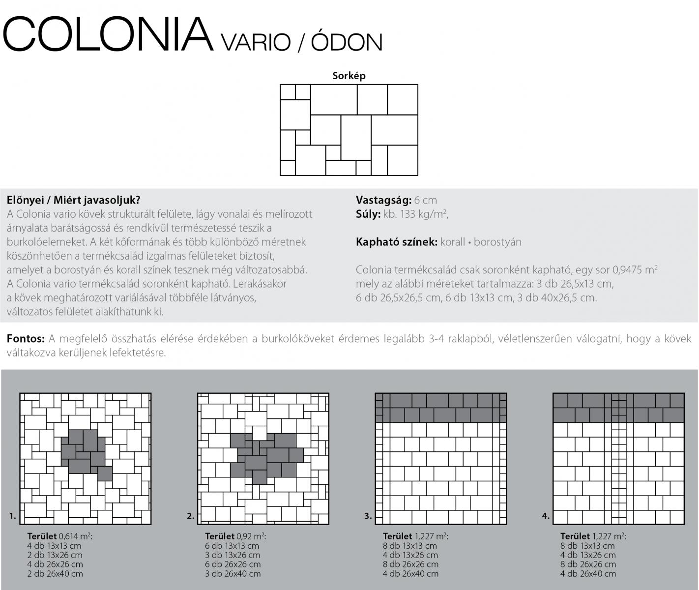 Colonia vario classic technikai információi