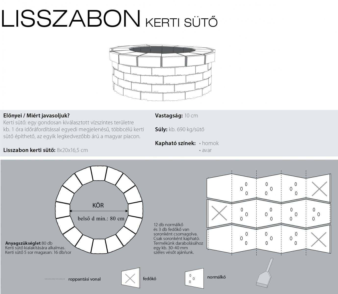 Lisszabon kerti sütő technikai információi