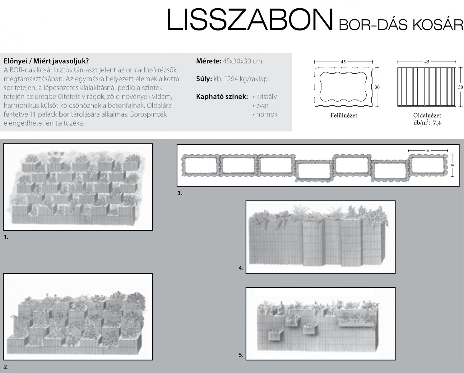 Lisszabon Bor-dás kosár technikai információi